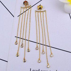 Henri Bendel Sun Flower Tassel Gold Earrings